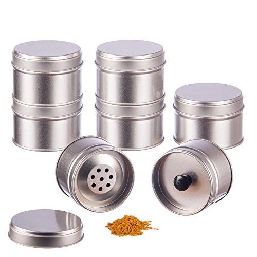 6er Pack kleine Gewürzdosen stapelbar mit extra Aromadeckel inkl. 6 Etiketten + 2 Streueinsätze | Höhe: je ca. 4,5 cm...