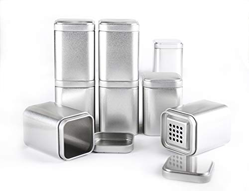 Spicebar 8 Gewürzdosen mit Aromadeckel + 8 Etiketten + 4 Streueinsätze, Maße: 8x6x6 cm