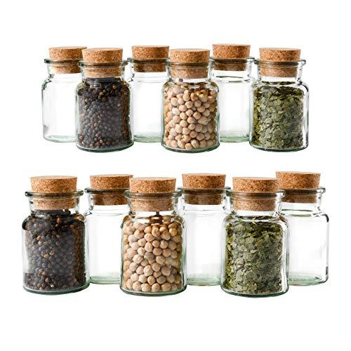 MamboCat 12er Set Gewürzgläser | Füllmenge 150 ml | Wiederverwendbare Glasdose + Korkverschluss | hochwertiges rundes...